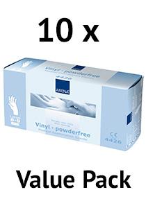 Abena vinyl handschoenen poedervrij wit maat l value pack 10x100 stuks