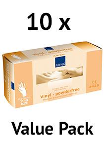 Abena vinyl handschoenen poedervrij wit maat m value pack 10x100 stuks
